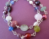 double row mixed gems wirework bracelet