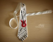 Tie for men. Embroidery. Man's tie. Musical Instruments. Gift for a music lover. Guitar. Saxophone. Piano. Gift for man.