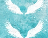 White Wings (turquoise) - 8x12