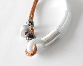 Orange white silver statement necklace