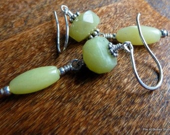 Four Season* Earthy Natural Gemstone Earrings Yellow Green Serpentine and Sterling Silver Jewelry Organic Earthy Stone Bead Jewelry