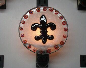 Fleur-de-Lis Night light -  France Night light - 4 Inch Diameter - Fused Glass Fleur-de-Lis