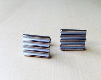 Vintage Silver Tone Ridged Square Cuff Links