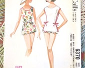 Vintage 1960s Womens Swimsuit and Coverup Pattern - McCalls 6370