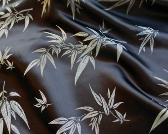 Vintage Black Satin with Silver Bamboo Damask Pattern