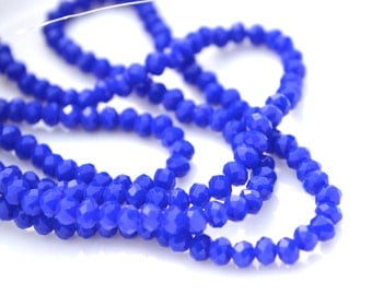 Cobalt Blue 4x2mm Crystal Beads 8 inch strand