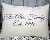 Personalized pillow, 2nd anniversary, cotton anniversary, Mother's Day gift, name pillow, family gift, valentine gift, anniversary -Alvis