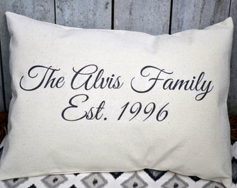 Family Name pillow, 2nd anniversary, cotton anniversary, last name art sign, second marriage, realtor gift, trending now, best selling