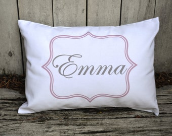 Personalized baby pillow, by girl gift,  Newborn gift, girls pillow   name pillow,  pink and grey baby gift idea -Emmacov-