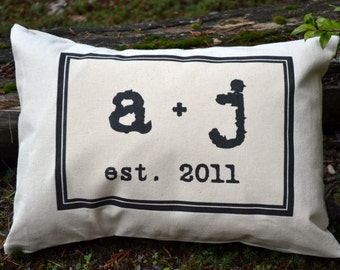 Personalized Couples gift pillow, valentine gift idea, personalized monogram, wedding gift pillow with date. Cotton anniversary