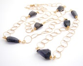 Gold Chain Necklace, Statement Necklace, Indigo Blue, Iolite Nuggets, Long Necklace, Modern