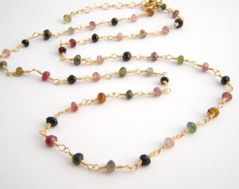 Rainbow Tourmaline Strand Necklace, Rosary Style, Gold, Green, Pink, Black