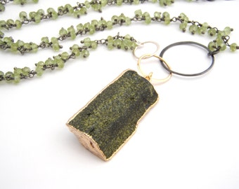 Peridot Pendant Necklace, Oxidized Sterling Silver, Gold, Apple Green, Black, August Birthstone