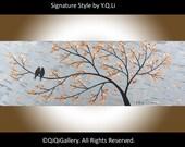 Original Birds Painting Heavy Texture Impasto Metallic Silver Love Birds Acrylic Painting by QIQIGALLERY
