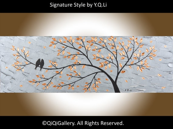 Original Birds Painting Heavy Texture Impasto Metallic Silver Love Birds Acrylic Painting by QIQIGALLERY