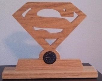 Solid Oak Superman Desk Clock