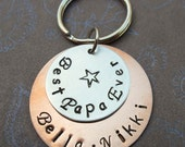 Best Papa Ever Keychain - Father Dad - Hand-Stamped Custom Names -Personalized Keychain  K49