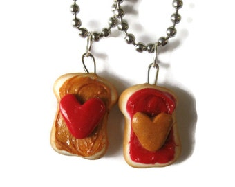 Peanut Butter and Strawberry Jelly Best Friend Necklaces, Hearts valentines Day
