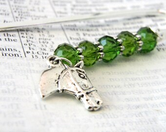 Horse Bookmark with Green Glass Beads