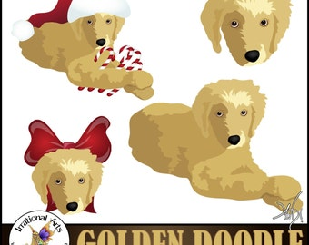 Golden Doodle set 1 INSTANT DOWNLOAD clipart Graphics 4 graphics Christmas Golden Doodle
