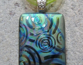 Fused Glass Pendant with Ribbon necklace: Etched Bullseyes