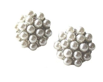 Round white pearl and silver post earrings CLEARANCE