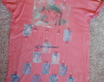 RARE BLUEFISH DRESS, vintage 1989, cows, arrows, collectible fashion, t shirt, designer, one large size