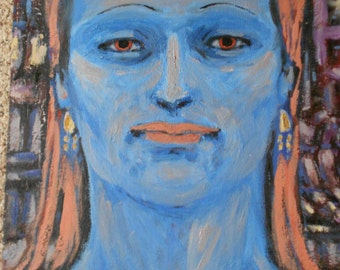 VINTAGE OIL PAINTING, Blue Lady, portrait, artist signed, mid century, art work, picture, hand painted,
