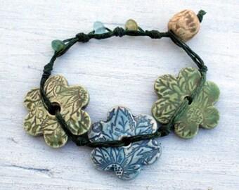 Triple-y...Ceramic Flower and Waxed Irish Linen Bracelet