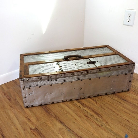 Vintage Industrial Aluminum Rivet Coffee Table Storage Trunk