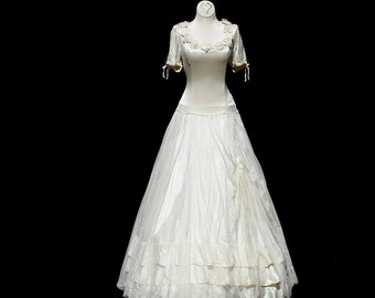 Vintage White Satin & Mesh Full Length Evening Dress