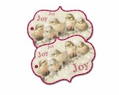 Woodland Birds Joy Tag, Christmas Joy Gift Tag, Birds on Snowy Branch, Stocking Hang Tag, Holiday Gift