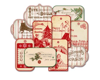Christmas Tag Assortment, Grab Bag, Assorted Holiday Tags, Gift Tags, Gift Wrap,Party Favor Hang Tags, Skier Tag, Happy Holidays