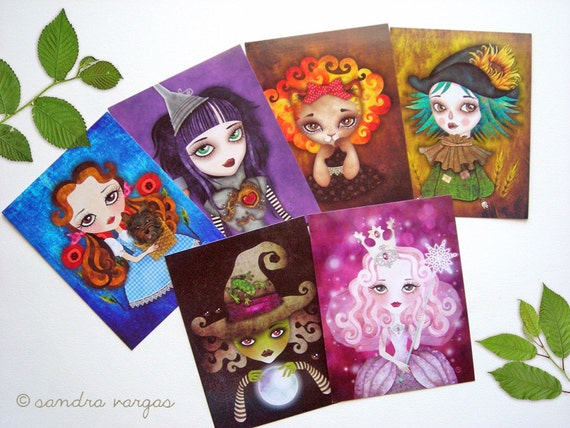 Wizard of Oz Postcard Set of 6 Gift Pack Collectible