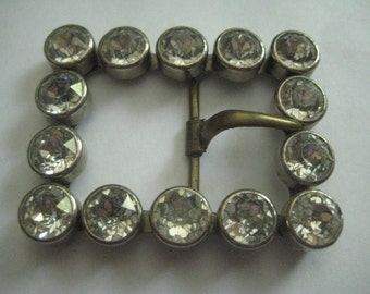 Antique Beltbuckle from Turn of the Century with Bezel Set Stones