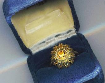 Vintage Golden Avon Ring, Adjustable Ring, Cocktail Ring, Yellow Rhinestone Statement Ring - Flower of the Desert by enchantedbeas on Etsy
