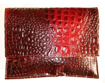 Burgundy embossed Croc City Clutch