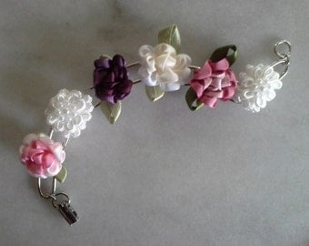 English Flower Garden Silk and Pearls Bracelet in Pinks and Cream
