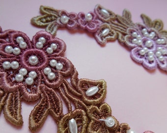 Hand Dyed Beaded Lace Motifs