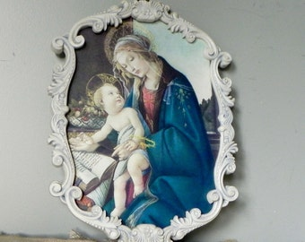 Vintage framed Italian made in Italy madonna and child print reproduction in white swirly frame Sandro Botticelli Italy Italian classic