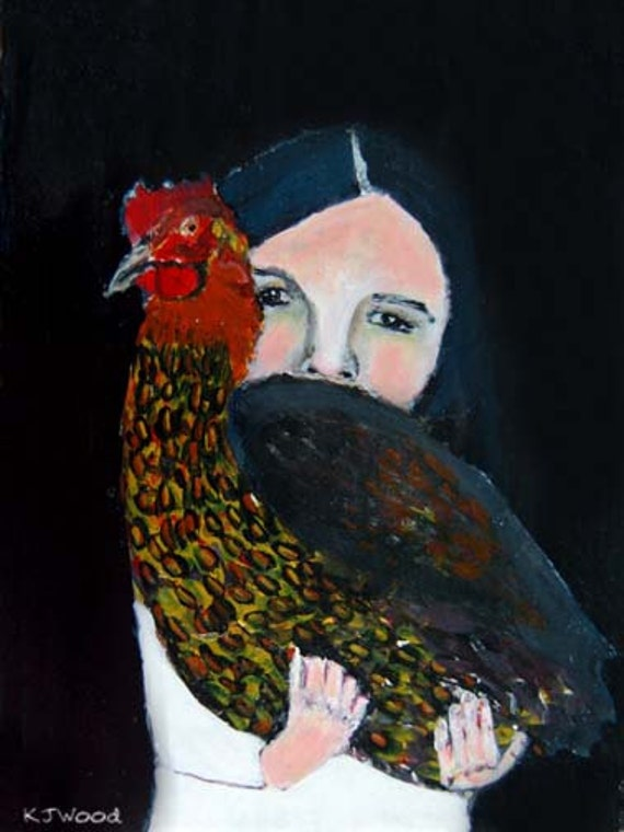 Acrylic Portrait Painting, Girl, Chicken, Black, She Won't Let Go, 9x12 canvas