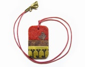 Red Felt pendant with wood butterfly and ginkgo brass cut outs / felt necklace /