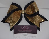 Reserved Listing for: bmcetnar 12 Gold & Black Sparkle Cheer Bow