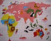 Kokka Animal World Map Cotton Fabric in Pink - 1 meter