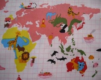 World Map Fabric, Kokka Animal World Map Cotton Fabric Pink/White, Panda, Toucan, Airplane, Dolphin, Soccer, Penguin, Giraffe - 1 meter cut