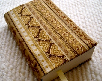 Elegant Fabric Book Cover in Gold and Brown - Mass Market Paperback Size; Stripes, border print, paisley, floral; Brown tan cream gold