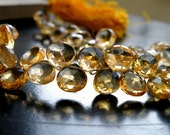 Citrine Gemstone Faceted Heart Briolette AAA Yellow Top drilled 7mm 27 beads 1/2 strand