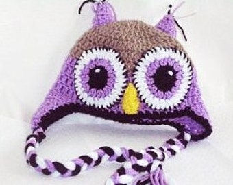 Crocheted Baby Owl Hat, Baby Owl Earflap Hat Photo Prop, Baby Animal Hat With Earflaps and Braids, Owl Beanie