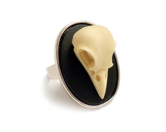 Raven skull ring antique silver adjustable - resin replica taxidermy steampunk goth gothic