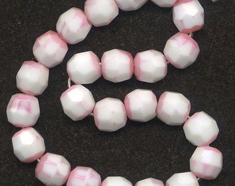 Vintage Pink & White Beads 11mm Faceted Round Glass W. G.